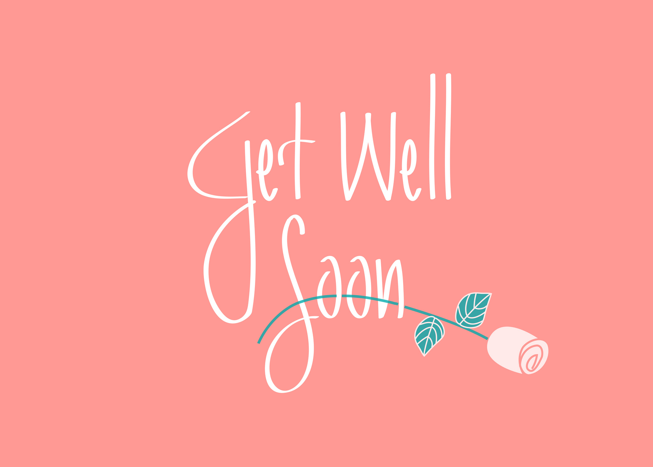 Get Well Soon with flower blue